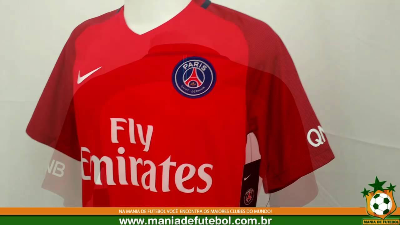 Camisa 2 Paris Saint-Germain Nike 16 17 Vermelha - YouTube a16bc48674ba3