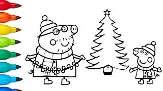 How to Draw Peppa Pig and Daddy Pig with Christmas Tree | Drawing and Coloring for Kids