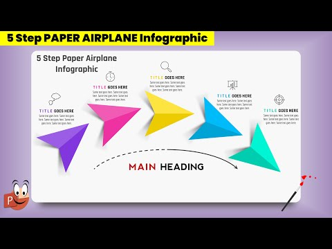 69.PowerPoint Presentation with 5 Step Paper Airplane Infographic Design| Powerpoint free