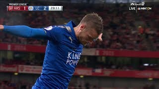 Jamie Vardy puts Leicester City in front against Arsenal