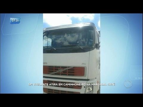 Vigilante de escolta armada atira em caminhoneiro na marginal Tietê