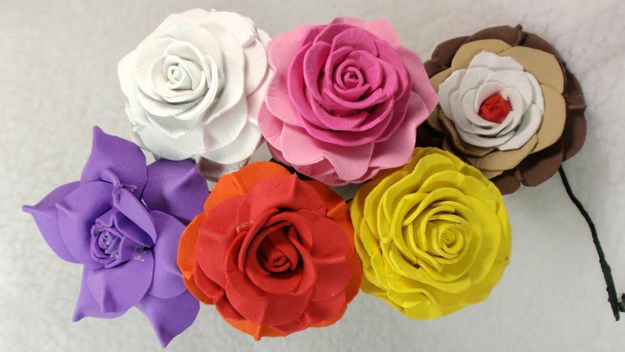 Foam roses youtube - Flores sencillas de goma eva ...