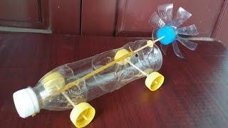 Cómo hacer un coche con botellas de plástico | Banda elástica coche accionado thumbnail