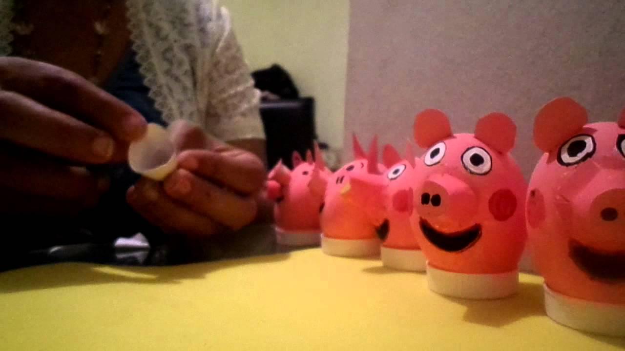 Peppa pig y cerdito toy story en cascaron  YouTube