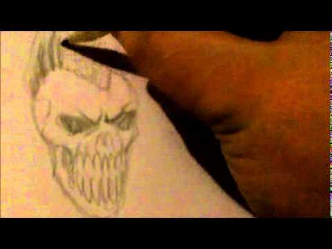 Drawing A Skull with Mohawk Hair - YouTube