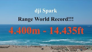 Dji Spark Range World Record 4400 meters - Emergency Landing -  FCC CE and sport+ hack !!
