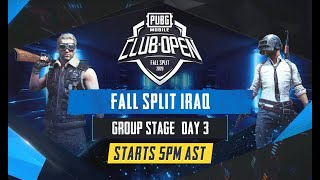 [Arabic] PMCO Iraq Group Stage Day 3 | Fall Split | PUBG MOBILE CLUB OPEN 2020