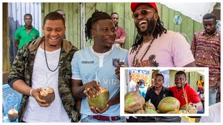 Adebayor Changes The Life Of a Coconut Seller - Stonebwoy Joins Him