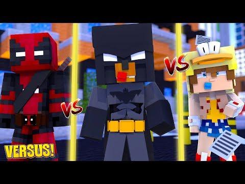 Minecraft Versus - DEADPOOL TAKES ON THE SUPERHERO WONDERMAN & BATMAN