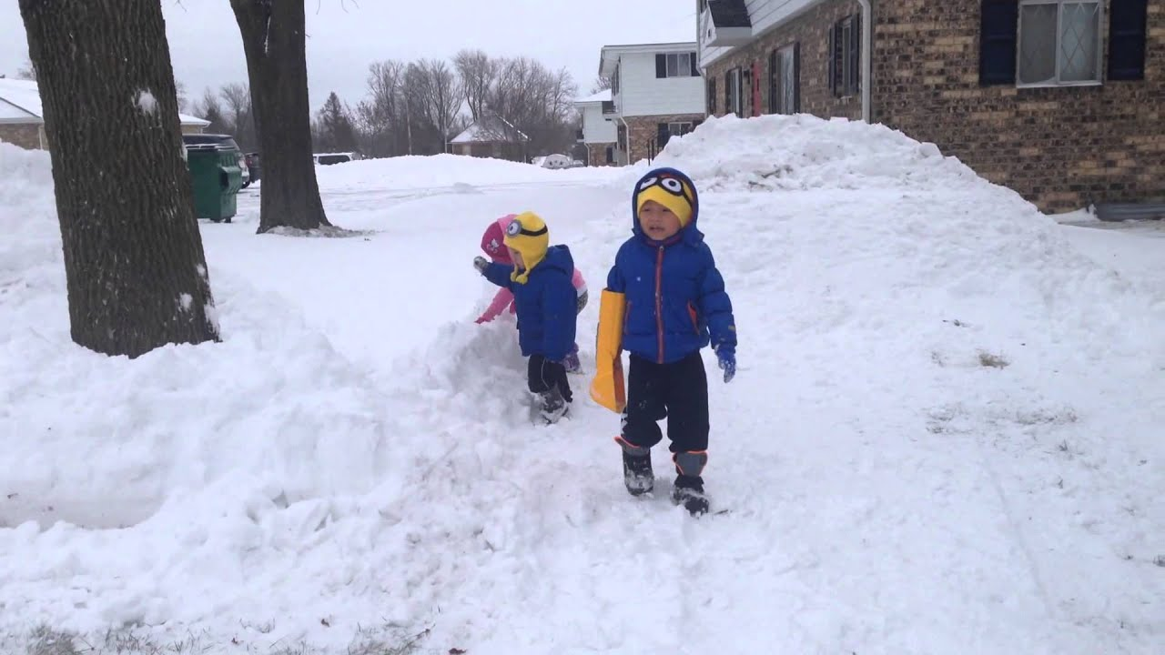 Kids Playing With Snow - YouTube