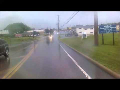 Idiotic Illegal Pass in Flood: Green Chevy Pickup (FMX 1955) 7-8-2014