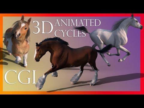 Equine CGI/3D animation Cycles - Shire, Shetland and Arabian