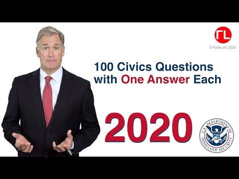 US Citizenship Test Questions with One Simple/Easy answer Each 2020