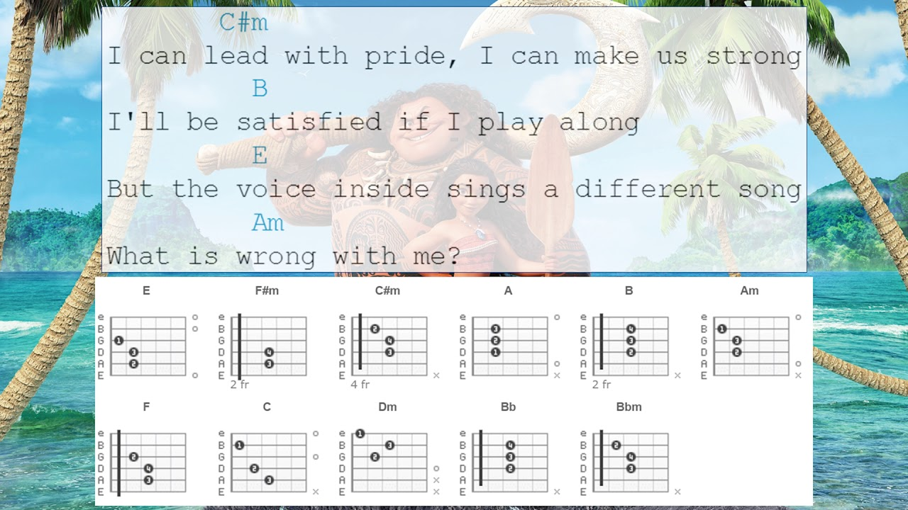 Guitar Chords - How Far I\'ll Go From Moana - YouTube