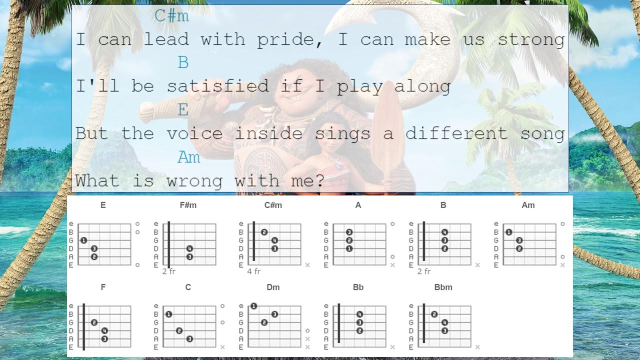 Guitar Chords - How Far I\'ll Go From Moana - YouTube