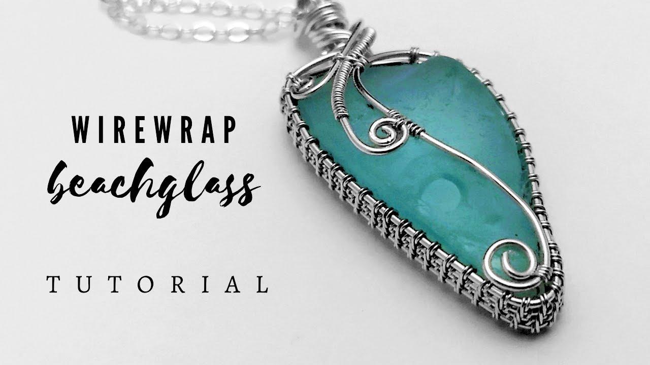 Silver wire wrapped sea glass pendant