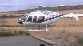 Helicóptero en la presa honda de Usagre