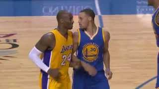 Repeat youtube video Kobe Gives Curry Respect After Draining Long Three