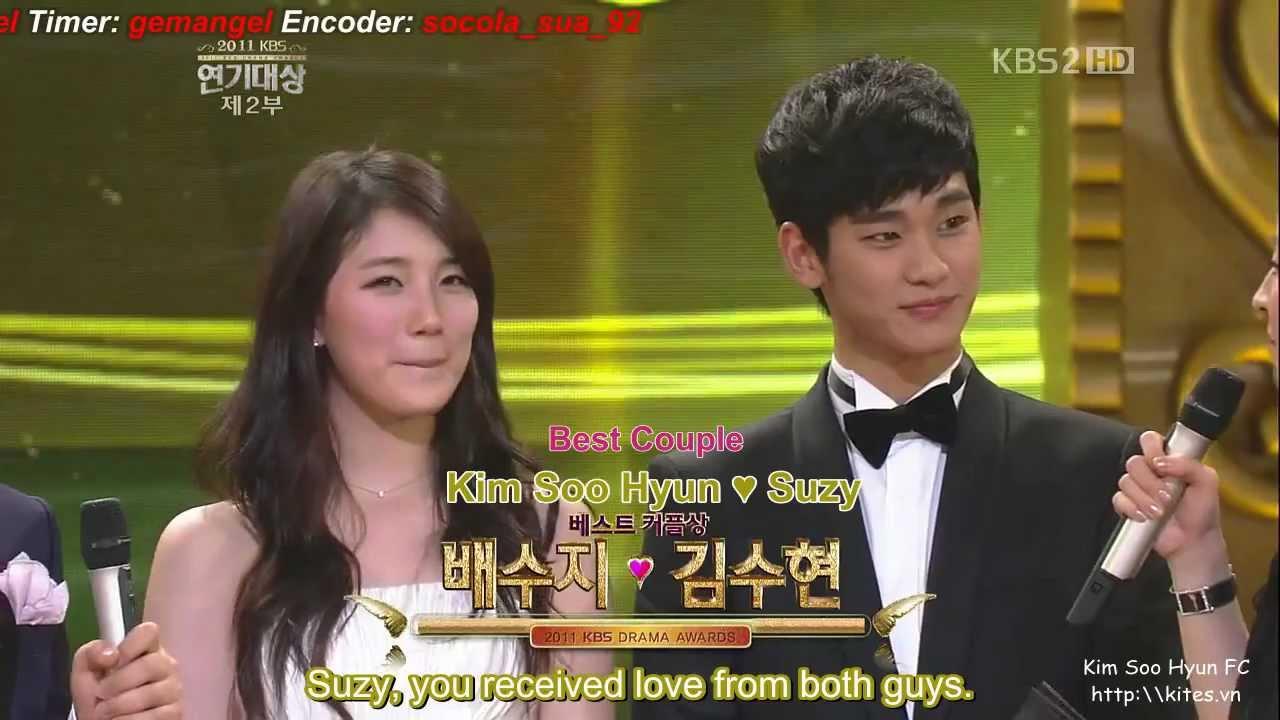 Engsub Kbs Drama Awards 2011 Kim Soo Hyun Suzy Best Couple Youtube