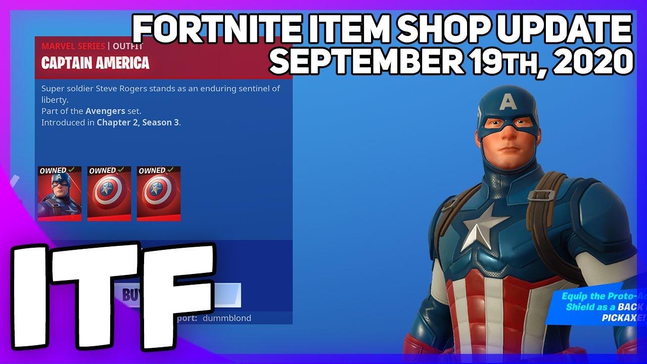 Fortnite Item Shop CAPTAIN AMERICA IS BACK! [September 19th, 2020] (Fortnite Battle Royale)