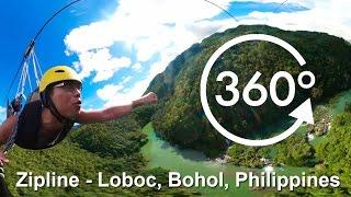 zipline in bohol philippines above the loboc river 360 video in 4k