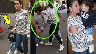 Taimur Ali Khan Can't Stop Blushing As Mom Kareena Kapoor Khan Picks Him Up