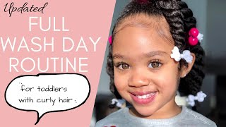Updated FULL WASH-DAY Routine For Toddlers with *THICK* Curly Hair | Best way to wash toddler's hair