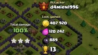 3 Star Raid + 400,000 Gold In Champions League - Clash Of Clans