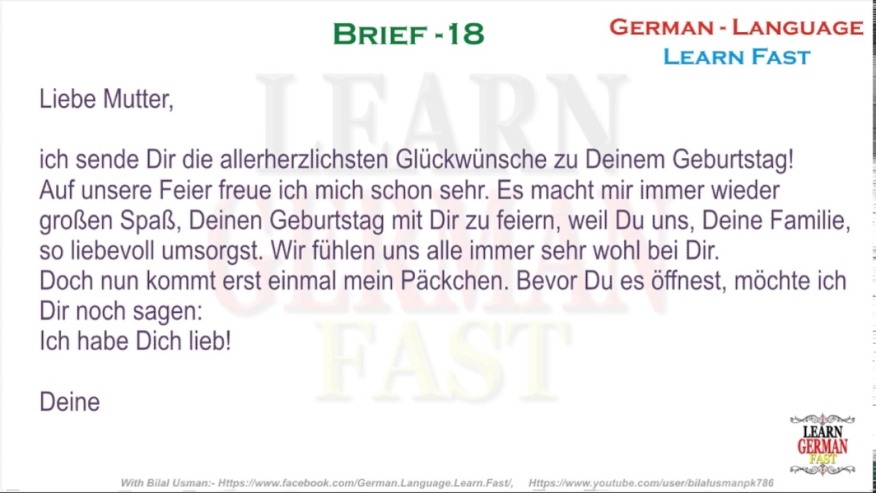 Learn German with Bilal:- German Brief 18 - A1, A2, B1, B2 ...