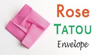 Rose Tatou Envelope🌹 Origami Paper Flower - Origami Kawaii〔#171〕