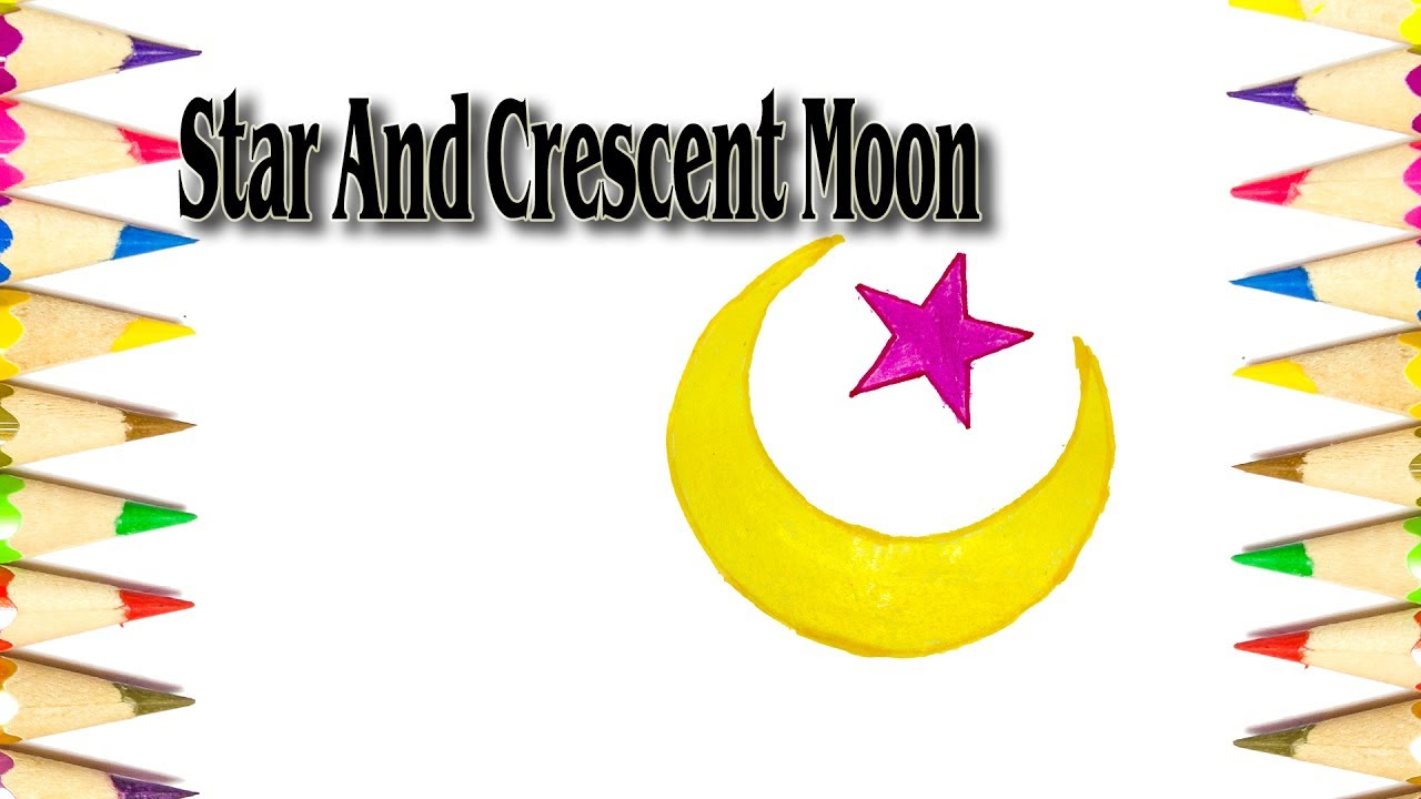 How To Draw The Star And Crescent Moon Symbol Youtube