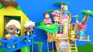 LOL bebek Heidi'nin ağaç evinde oynuyor LOL sürpriz bebekler Caillou ağaç evi oyun parkında düşüyor