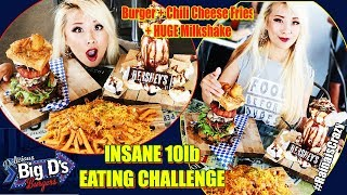 Big D's MASSIVE 10lb Burger Challenge w/ Chili Cheese Fries and a HUGE Milkshake  | RainaisCrazy
