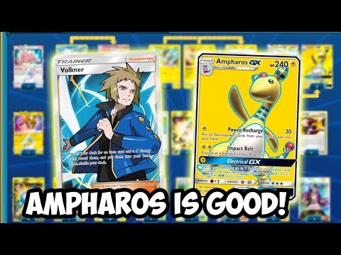 Ampharos GX Is Good! Electropowers For Days! Ampharos GX Deck! Team Up PTCGO