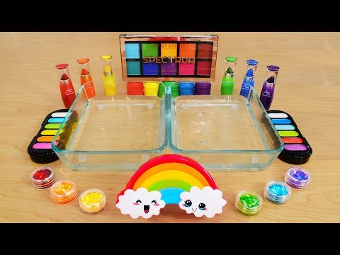 Rainbow  Mixing Makeup Eyeshadow Into Slime! Special Series 96 Satisfying Slime Video