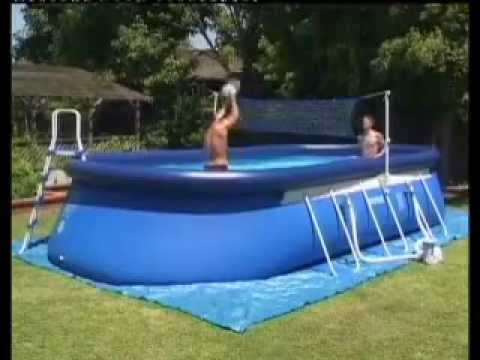 Piscina intex oval frame youtube for Piscinas rectangulares intex