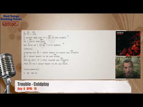 Trouble - Coldplay Vocal Backing Track with chords and lyrics