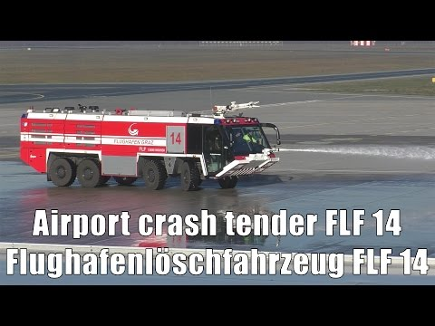 Airport Crash Tender FLF 14 Cleaning The Apron With Water Cannon At Graz Airport