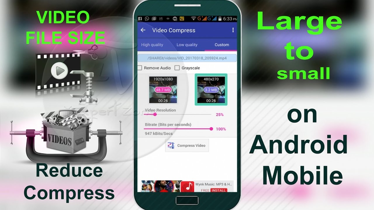 How to Reduce Compress Large Video Files size on Android Mobile