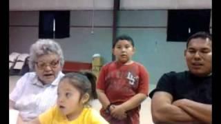 My kids singing Comanche hymns at Post Oak Church