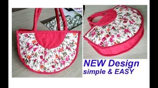 DIY cutting stitching of handbag with zipper in hindi /purse making /shopping bag /travel bag