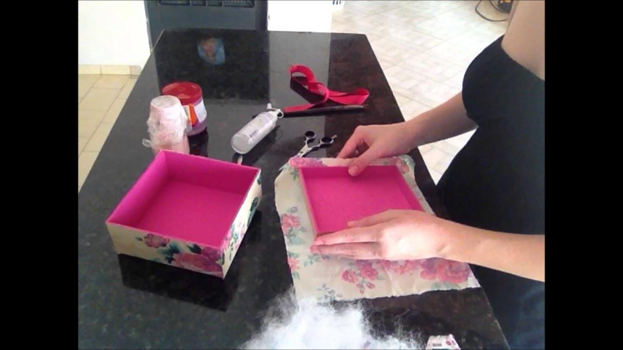 Artesanato Como Fazer Caixa de Madeira com Tecido Floral Caixa de  #A5265D 1440x1080