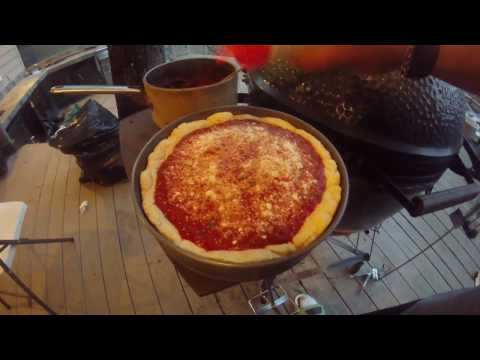 CHICAGO STYLE DEEP DISH PIZZA ON BIG GREEN EGG