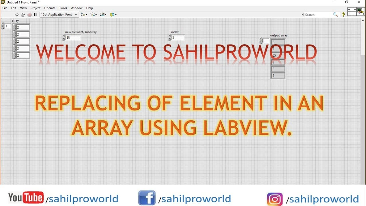 REPLACING AN ELEMENT IN ARRAY| USING LABVIEW| LABVIEW TUTORIALS