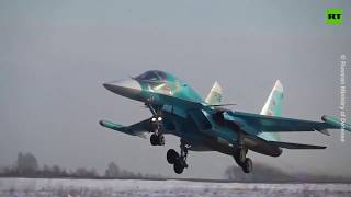 Russian Su-34s make stunts while practicing dogfights over Urals