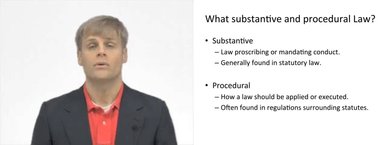 Substantive And Procedural Law Youtube