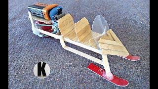 как сделать снегоход из моторчика и палочек? / How to make a snowmobile from a motor and sticks?