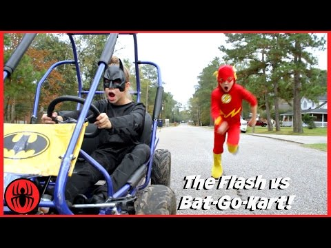 Thumbnail: The Flash vs Batman GO KART BATTLE Race Car Edition superhero real life movie comic SuperHero Kids