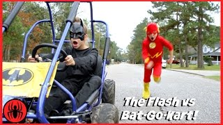 The Flash vs Batman GO KART BATTLE Race Car Edition superhero real life movie comic SuperHero Kids thumbnail
