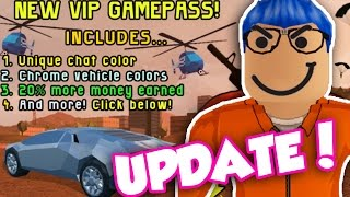 Video NEW UPDATE IN ROBLOX JAILBREAK!! VIP PASS AND NEW CAR! (Roblox Jailbreak) download MP3, 3GP, MP4, WEBM, AVI, FLV November 2018